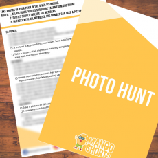Party game called Photo Scavenger Hunt to be played in Groups at Anniversary Party.