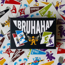 Bruhaha game box and cards. Fun party game for groups of adults, kids and families.